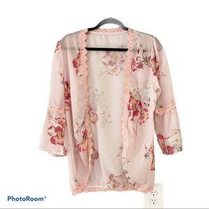 NWOT- Pink Floral Kimono w/ Crochet Edges - M